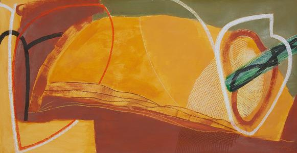 WERK 1255 | Jahr 2011 | Acryl, Pastell und Kohle auf Papier<br>Format: 77 x 149 cm