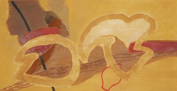 WERK 1258 | Jahr 2011 | Acryl und Pastell auf Papier<br>Format: 77 x 149 cm