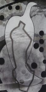 WERK 1301 | Jahr 2014 | Kohle, Pastell und Bleistift auf Papier.<br> Format: 140 x 70 cm