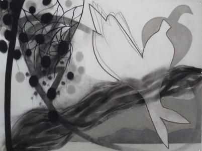 WERK 1302 | Jahr 2014 | Kohle und Pastell auf Papier.<br> Format: 150 x 112 cm